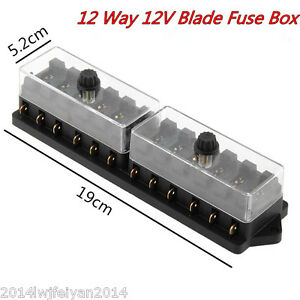 Dc 12v Auto Car Boat 12 Way Circuit Standard Ato Atc Blade Fuse Box Block Holder