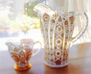 Antique Gold Gilt Lead Crystal Glass Pitcher And Creamer Set