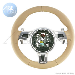 Porsche 991 Cayman 987 Boxster Steering Wheel Paddle Shifers Luxor Beige Leather