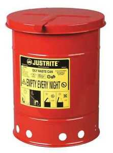 Oily Waste Can 6 Gal steel red Justrite 09110