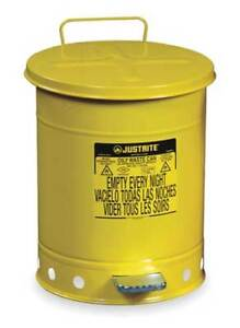 Oily Waste Can 14 Gal steel yellow Justrite 09501