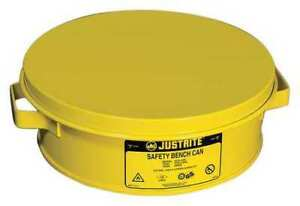 Bench Can 2 Qt steel yellow Justrite 10291