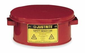 Justrite 10375 Bench Can 1 Gal galvanized Steel red