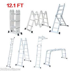 3 7m Multi purpose Heavy duty Aluminum Folding Step Ladder Extension Scaffold Us