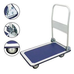 New Platform Cart Folding Dolly Moving Push Hand Truck Warehouse 330lbs Blue