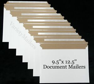 6 Rigid Shipping Envelopes 9 5 x 12 5 Self sealing Document Photo Mailers