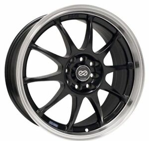 17x7 Enkei J10 5x100 114 3 38 Black Wheels Set Of 4