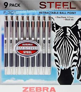 Zebra F 301 Steel Retractable Ball Point Pens Fine Point 0 7mm Black Ink 9 Pack