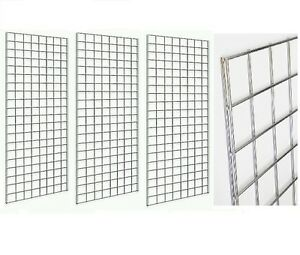 2 X 6 Deluxe Chrome Wire Gridwall Retail Display Panels Case 3 Free Shipping