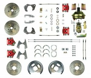 1965 1970 Chevy Impala Power 4 Wheel Disc Brake Kit Drilled Rotors Red Calipers