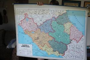 Old School Map Of Center Of Italy 2 Sided Plastic Pull Down