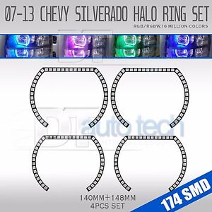 07 13 Silverado Bluetooth Multi color Angel Eyes Led Rgb Headlight Halo Ring Set