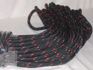 Double Braid Polyester Line 7 16x150 Ft Black Red Tracers