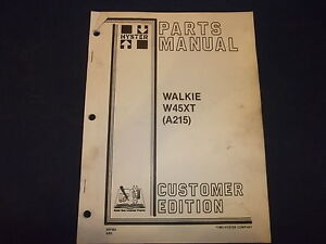 Hyster W45xt Walkie Forklift Truck Parts Book Manual