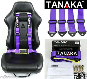 1 Tanaka Universal Purple 4 Point Buckle Racing Seat Belt Harness 2