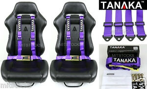 2x Tanaka Universal Purple 4 Point Buckle Racing Seat Belt Harness 2