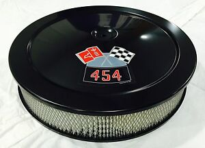 Black Chevrolet Air Cleaner 14 Round 4 Bbl White Filter 454 Decal New