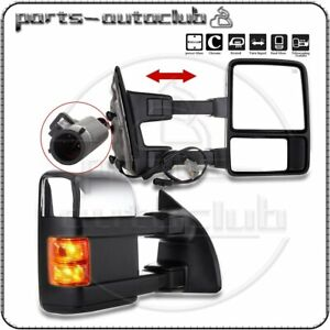 Power Heated Led Smoke Signal Chrome Towing Mirrors Pair For 1999 07 Ford F250