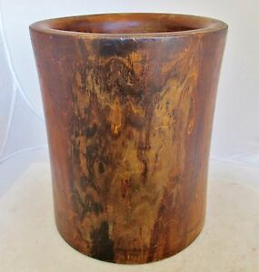 Vintage Big Chinese Wood Brush Pot 10