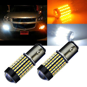 Pair 60 Smd Dual Color Switchback 1157 Led Bulbs For Turn Signal Parking Lights