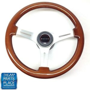 1967 68 Buick Wood Brushed Silver Steering Wheel buick Center Cap