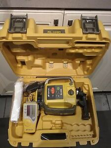 Topcon Rl h4c Construction Laser Level Rechargeable Kit With Tripod And Rod