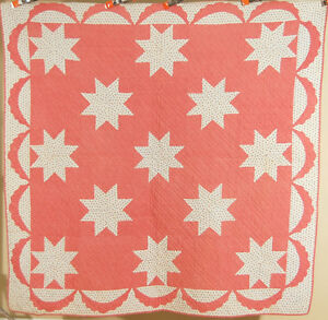 Gorgeous Vintage 1870 S Stars Antique Quilt Beautiful Fabrics Swag Border