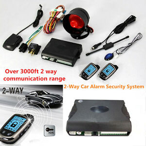 2 way Car Alarm Security System W 2 Pcs Lcd Super Long Distance Controlers Kit