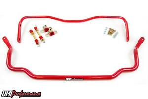 Umi Performance 64 72 Gm A Body Chevelle Solid Front And Rear Sway Bar Kit Red