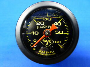 Marshall Gauge 0 60 Psi Fuel Pressure Oil Pressure 1 5 Midnight Black Liquid
