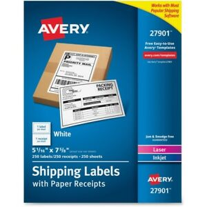 Avery Bulk Shipping Labels With Paper Receipt 27901