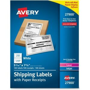 Avery Bulk Shipping Labels With Paper Receipt 27900