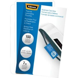 Fellowes Glossy Pouches Business Card 7 Mil 100 Pack 52059