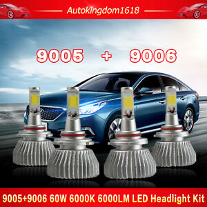 4pcs 9005 9006 Led Total 120w 12000lm Combo Headlight Kit Hi Lo Beam White Bulbs