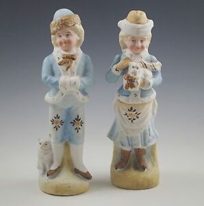 Antique Victorian Girl And Boy With Dogs Bisque Figurines Pair Heubach
