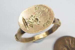 Unusual Large Early Antique Silver Gilt Signet Seal Glove Ring C1600 S