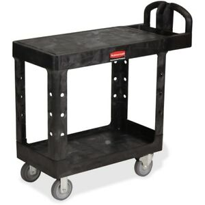 Rubbermaid Hd Flat Shelf Utility Cart 450500bla
