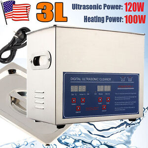 3l Stainless Steel Ultrasonic Heated Cleaner Industry Heater W timer Us Ship