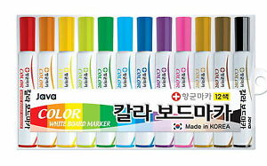 4 Set 12 Color White Board Non toxic Dry erase Marker Pens Java Korea Ene