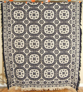 Outstanding Vintage 1840 S Double Weave Jacquard Antique Indigo Blue Coverlet