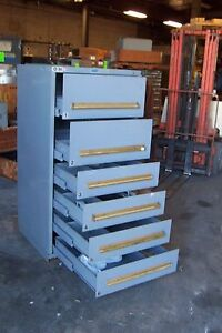 Equipto Grey 6 Drawer Industrial Tool parts Cabinet 30 l X 28 w X 59 H