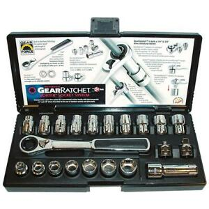 21 Pcs Gearratchet Combination Sae Metric Socket Set Gearwrench Kd 8921
