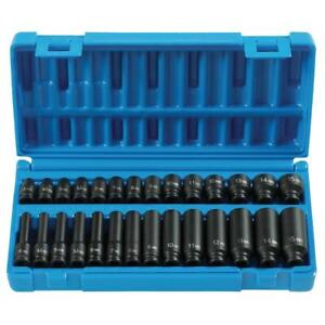 28 Piece 1 4 Drive 6 Point Standard And Deep Metric Impact Socket Set