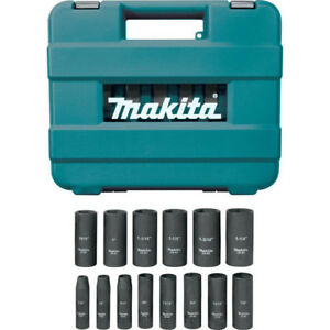 Makita 14 Pc 1 2 In Drive 6 point Deep Well Impact Socket Set A 96372 New