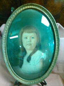 Antique Wooden Oval Picture Frame With Convex Glass Red Haired Blue Eyed Girl