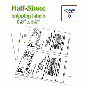 1000 Half Sheet Shipping Labels For Laser Inkjet Printers 2 Labels Per Sheet
