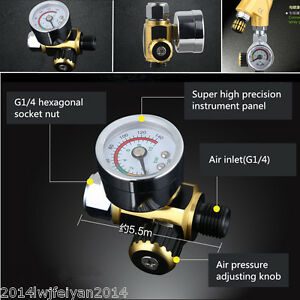 Metal Spray Paint Gun Air Pressure Regulator Spray Gun Pressure Gauge 0 0 10mpa
