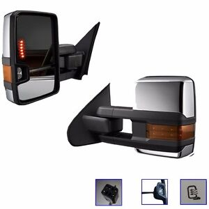 Pair Towing Mirrors Power Heat Clearance Signal Chrome Side For Chevy Gmc 99 02