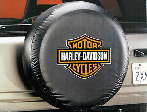 Harley Davidson Bar And Shield Orange Logo Spare Tire Cover Truck Fits Jeep Suv