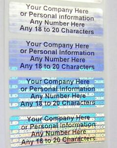1000 Customized Svag Hologram 625 X 2 Security Label Sticker Seals